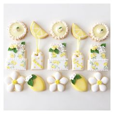 Like the flowers and lemons Shower Party, Bridal Shower, Baby Shower, Lemon Cookies, Sugar Cookies, Lemon Party, Wedding Cookies, Wedding Cake, Cute Cookies