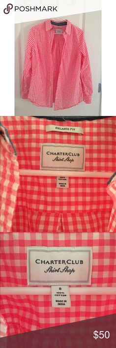 Pink plaid button down size 8 ✨✨ Pink & white plaid button down. Size 8. Relaxed Fit. Charter club shirt shop ✨ used but in good condition! Charter Club Tops Button Down Shirts