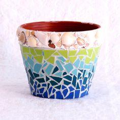 Mosaic Pot, Small Pot, Pot for Plants, Terracotta Garden Pot, Seashell Art, Ceramic Tile Mosaic, Beach House Decor Turqoise Aqua Blue