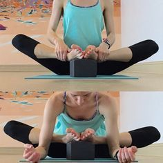 If you would like to go even deeper, you can elevate the feet on the block for an intense release!