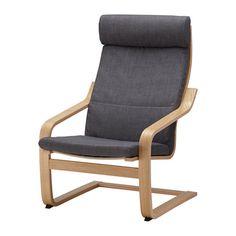 ПОЭНГ Кресло - Шифтебу темно-серый, дубовый шпон - IKEA
