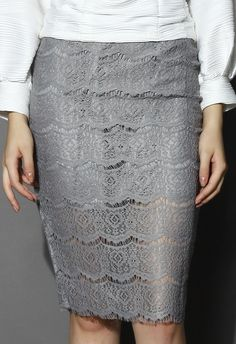 Full Lace Pencil Skirt in Grey