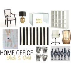 Home Office Decor | Black & Gold