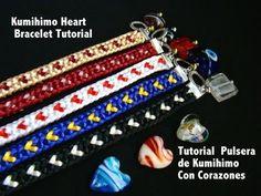 Kumimari 10: Heart Design Kumihimo Bracelet/Pulsera de Kumihimo con Corazones - YouTube