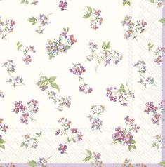 4 Single Lunch Paper Napkins for Decoupage Craft Napkin Bellina Flowers Cream