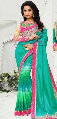 Marwadi Tie and Dye Saris Green Georgette Printed SF3366D20135