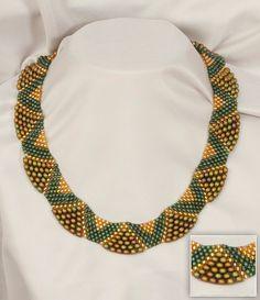 Bronze-Green Beaded Necklace. $90.00, via Etsy.