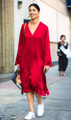 red dress street style