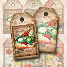 Digital Collage Sheet  Vintage Seed Catalog Tags Gift Tags Hang Tags Double Sided Instant Download TG102