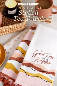 Add the final touch to your kitchen with unique tea towels. Whether you love delicate designs or something a little more daring, we have decor for your personal style.