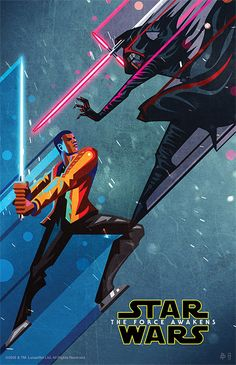 Cool art poster featuring Finn and Kylo Ren dueling!