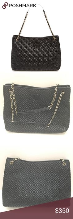 Tory Burch Marion Quilted Black Tote Minor wear on the bottom corners but overall great condition. 13 x 9 x 4 Tory Burch Bags Totes
