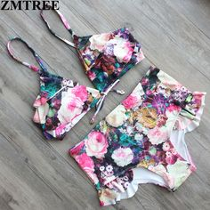 ZMTREE New Sexy Floral Print Swimming Suit Push Up Swimwear Women Swimsuit Bikini Bandage Beachwear Maillot De Bain Femme 2017 #Affiliate