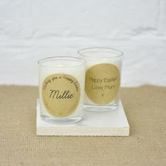 Easter Personalised Candle, Personalised especially for the lucky recipient this Easter, our personalised gold foiled candles read 'Wish you a Happy Easter' with your personalised name.