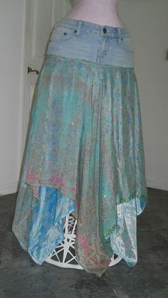 Fée Turquoise jean skirt aqua silk by bohemienneivy on Etsy