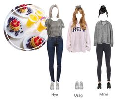 """Trinity - Food Before Fansign"" by trinity-official ❤ liked on Polyvore featuring Frame, adidas, prAna and Gap"