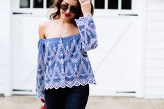 Blue Off The Shoulder Blouse - Dallas Wardrobe