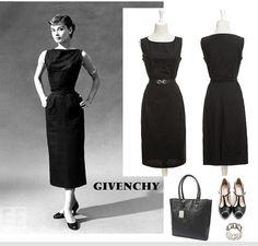 Audrey Hepburn black dress Vintage style backless contrast color sexy  stylish evening dress / mini dress skirt