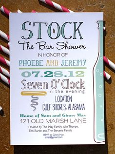 50 Stock the Bar Shower or Party Invitations by paigeburtondesigns