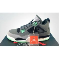 new arrival 88e52 70263 Order real Air Jordan Retro 4 Dark Grey Green Glow-Cement Grey-Black free