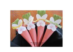 Adorable bunny paper carrot treats for Easter using Stampin Up full heart punch and large oval.