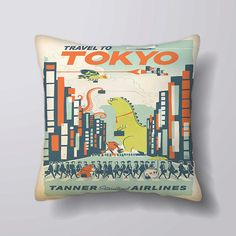 Tokyo travel - Cushion Fabric Panel Or Case or with Filling
