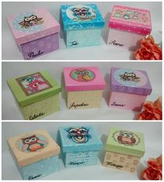 Mini caixas para 9 batons. Decoupage Vintage, Decoupage Box, Diy Gift Box, Diy Box, Diy Crafts For Gifts, Home Crafts, Paper Mache Boxes, Wooden Gift Boxes, Wood Cutouts