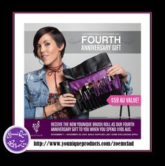 CUSTOMER KUDOSNovember 1 - November 30, 2016 FOURTH ANNIVERSARY GIFT Receive the new Younique Brush Roll worth $59 aud as our Fourth Anniversary Gift to you when you spend $195  #younique #beauty #makeup #cosmetics #australia #Sydney #goldcoast #Melbourne #oz
