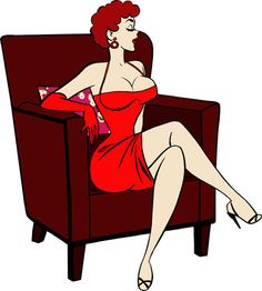 sexy red head pinup girl clipart png clip by DigitalGraphicsShop