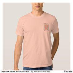 Uterine Cancer Awareness Ribbon Peach Angel Custom Tee Shirt