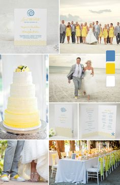 """""""Ocean Breeze"""" Beach Wedding Inspiration by MagnetStreet - blue, yellow and white wedding colors"""