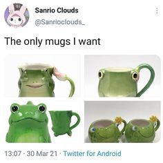 Hello Kitty Mug, Cute Frogs, Frog And Toad, Fresh Memes, Wholesome Memes, Goblin, Caption, Mugs, Feelings
