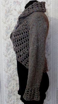 Купить Болеро, связанное из твидовой шерсти - темно-серый, болеро, болеро вязаное, болеро крючком