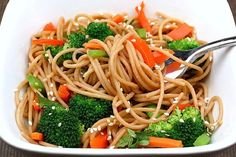 whole wheat noodles w/ peanut sauce and vegetables