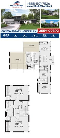 Check out this remarkable Contemporary home design, Plan 2559-00892 details 2,371 sq. ft., 3 bedrooms, 3 bathrooms, a kitchen island, an open floor plan, vaulted ceilings, and a 2 car garage. #contemporaryhome #openfloorplan #architecture #houseplans #housedesign #homedesign #homedesigns #architecturalplans #newconstruction #floorplans #dreamhome #dreamhouseplans #abhouseplans #besthouseplans #newhome #newhouse #homesweethome #buildingahome #buildahome #residentialplans #residentialhome Best House Plans, Dream House Plans, Contemporary House Plans, Vaulted Ceilings, Barn Plans, Flat Roof, Open Floor, Car Garage, Innovation Design