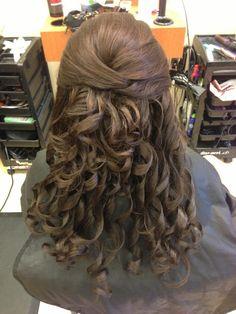 Half up half down with curls