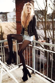 "'Don't let little stupid things break your happiness."" House of Holland mock spike tights #tights #legwear #prettify"
