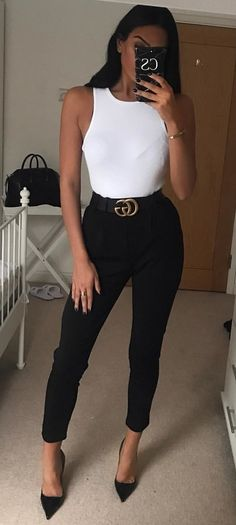 #winter #outfits  white tank top, black Gucci belt, and black skinny jeans