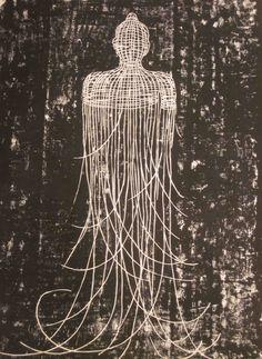 Buddha, woodblock print by Cambodian artist Sopheap Pich, 2010 Buddha Kunst, Buddha Art, Ex Libris, Tibet, Linoprint, Monochrom, Print Artist, Woodblock Print, Graphic Illustration