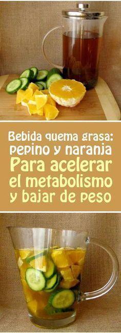 Bebida quema grasa: pepino y naranja. Para acelerar el metabolismo y bajar de peso #bebida #acelerar #metabolismo #bajardepeso #adelgazar #quemargrasa #té #perderpeso Healthy Recepies, Healthy Juices, Healthy Smoothies, Healthy Drinks, Healthy Tips, Healthy Eating, Fitness Diet, Health Fitness, Sumo Natural