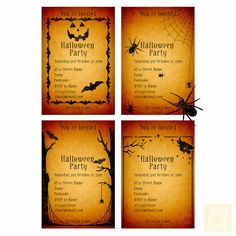Personalised Spooky Halloween Vintage Style Paper Invitations – Choose From 4... in Home, Furniture & DIY, Celebrations & Occasions, Cards & Stationery   eBay