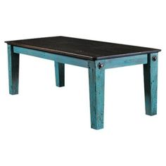 Vintage Flooring and Furniture Prairie Bolt Dining Table Top Finish / Base Finish: Ebony / Turquoise