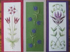 stitched paper bookmarks