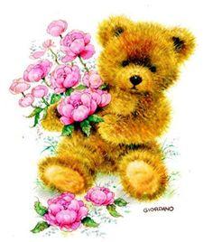 Belles illustrations de G.Giordano /Tulip et Marigold Teddy Bear Images, Teddy Bear Cartoon, Teddy Bear Pictures, Cute Teddy Bears, Illustration Mignonne, Bear Illustration, Art D'ours, Teddy Beer, Feather Painting
