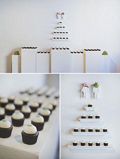 Modern wedding cupcake display