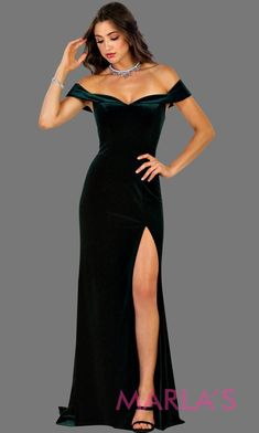 146bc624071f Long fitted velvet hunter green off shoulder dress with high slit. This  sleek and sexy