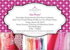 Prom season is upon us and Charlotte's Closet is having a MAJOR prom dress event on March 20th! In case you aren't familiar with this company, their business structure is aimed at tweens/teens who want to BORROW gorgeous dresses and gowns for any event imaginable! The best part? Their prices are up to 75% off of retail prices!  So join them for a night of fashion and ball gowns (every girl's dream, right?). You may see something you like!