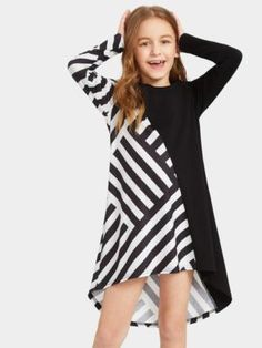 To find out about the Girls Two Tone Striped Asymmetrical Dress at SHEIN, part of our latest Girls Dresses ready to shop online today! Kids Outfits Girls, Girls Fashion Clothes, Tween Fashion, Teen Fashion Outfits, Girl Outfits, Pop Fashion, Little Girl Dresses, Girls Dresses, Dress Girl