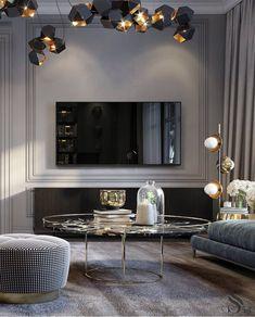 Home Remodel Living Room .Home Remodel Living Room Living Room Tv, Interior Design Living Room, Living Room Designs, Interior Paint, Luxury Home Decor, Luxury Interior, Interior Lighting, Salon Art Deco, Modern Classic Interior