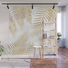 Gold Palm Leaves Wall Mural Wallpaper by Marta Olga Klara - X Wall Murals Bedroom, Accent Wall Bedroom, Polaroid Wall, Polaroid Display, Hipster Bedroom Decor, Wall Painting Decor, Wall Decor, Palm Leaf Wallpaper, Hand Painted Walls